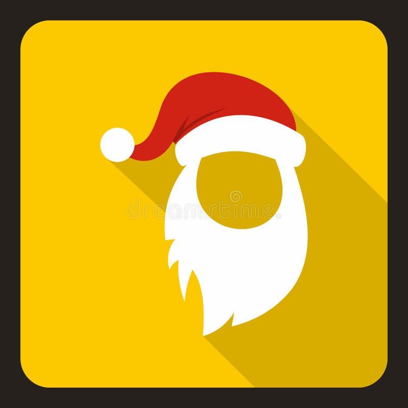 Czerwony kapelusz i tęsk biała broda Święty Mikołaj ikona ilustracji