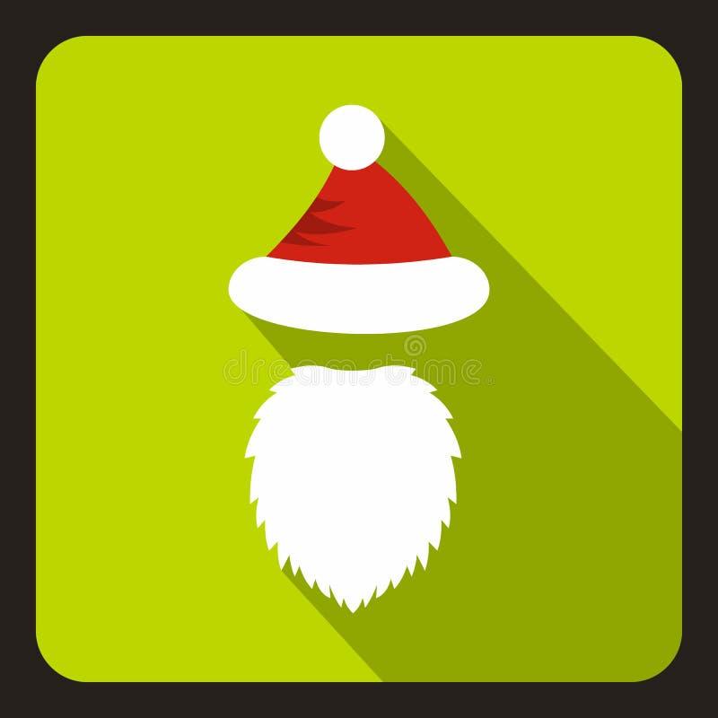 Czerwony kapelusz z pomponem i długą brodą Święty Mikołaj ilustracji
