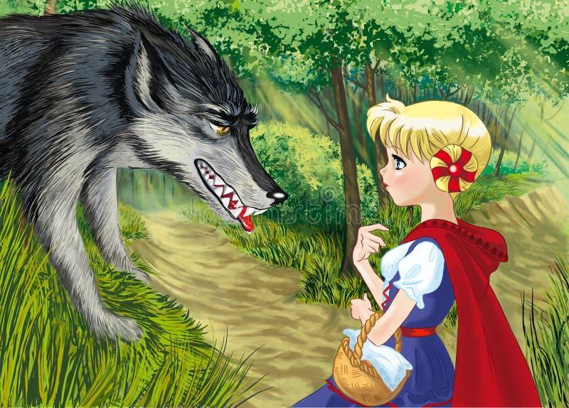 Czerwony kapiszon z wilkiem zdjęcie stock