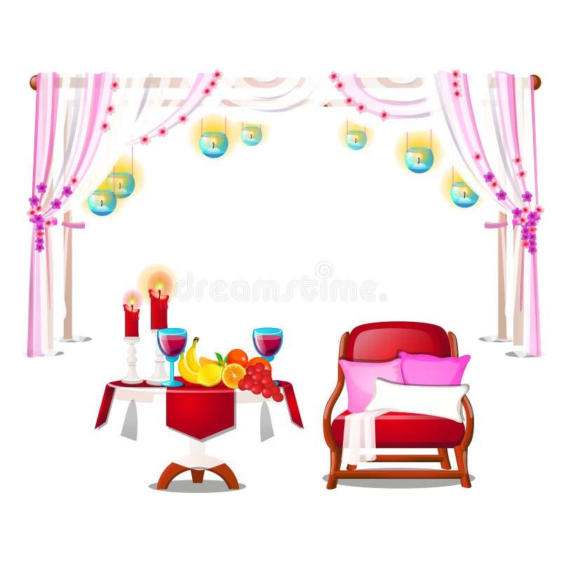 Czerwony karło z poduszkami, drewnianym stołem z świeżą dojrzałą owoc, płonącymi świeczkami i czerwonym winem odizolowywającymi n royalty ilustracja