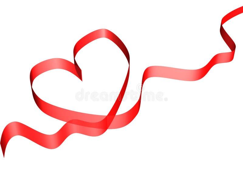 czerwony karty tasiemkowy walentynki ilustracja wektor
