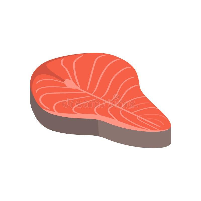 Czerwony kawałek rybi mięso, stek gotowy dla przygotowania ilustracja wektor