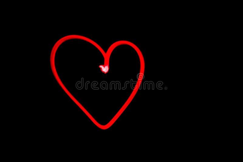 Czerwony kierowy konturu światła obraz w czarnym nocnym niebie obraz royalty free