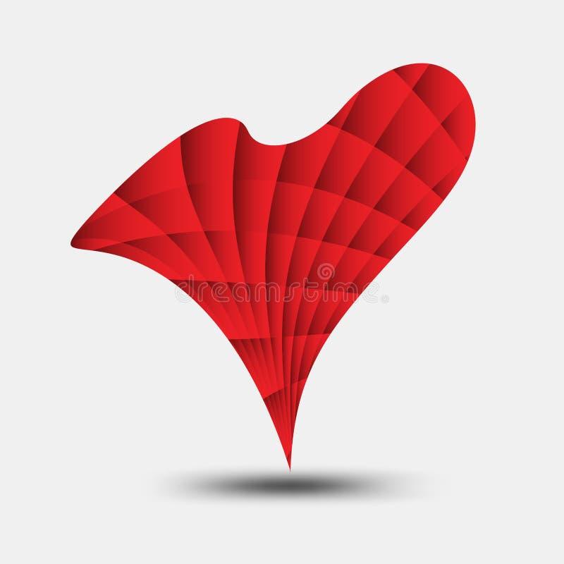 Czerwony kierowy poligonalny wektor, kierowa ikona, T koszulowy logo, płaska ikona dla apps i strona internetowa, miłość znak, va ilustracji