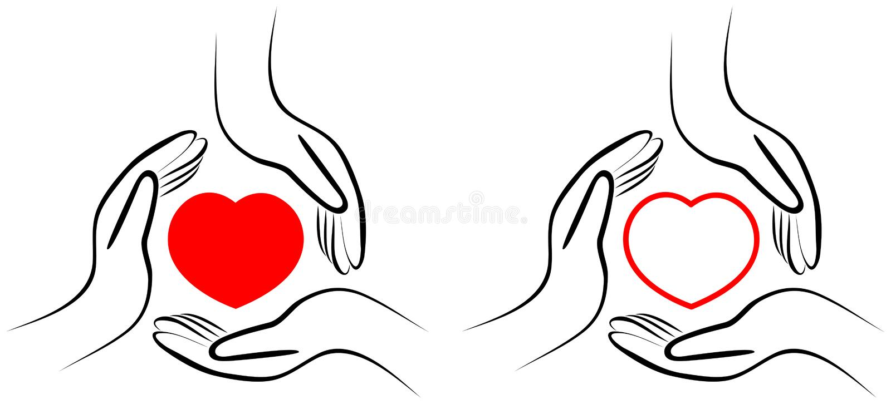 Czerwony kierowy symbol w mienie rękach ilustracji