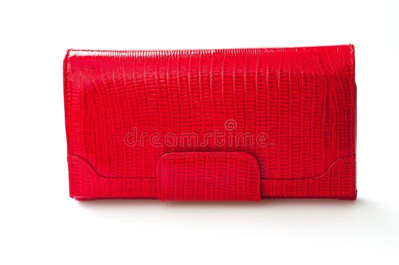 Czerwony kiesa portfel odizolowywający na białym tle obrazy stock
