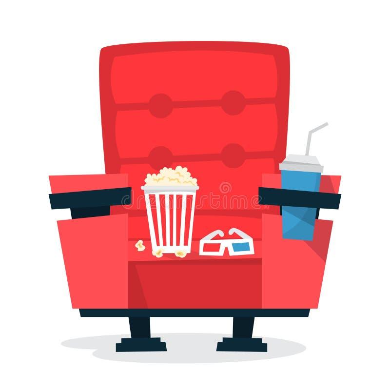 Czerwony kinowy teatru krzesło z wystrzał kukurudzą i sodowanym napojem ilustracji