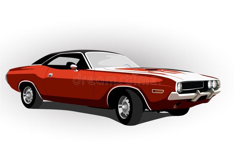 Czerwony klasyczny mięśnia samochód ilustracji