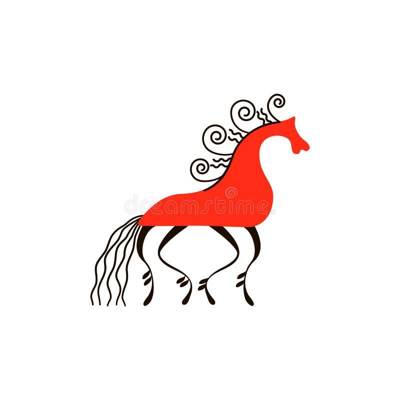 Czerwony koń Krajowi północni obrazy Ludowi rękodzieła Czarowni oryginałów ornamenty prostota royalty ilustracja