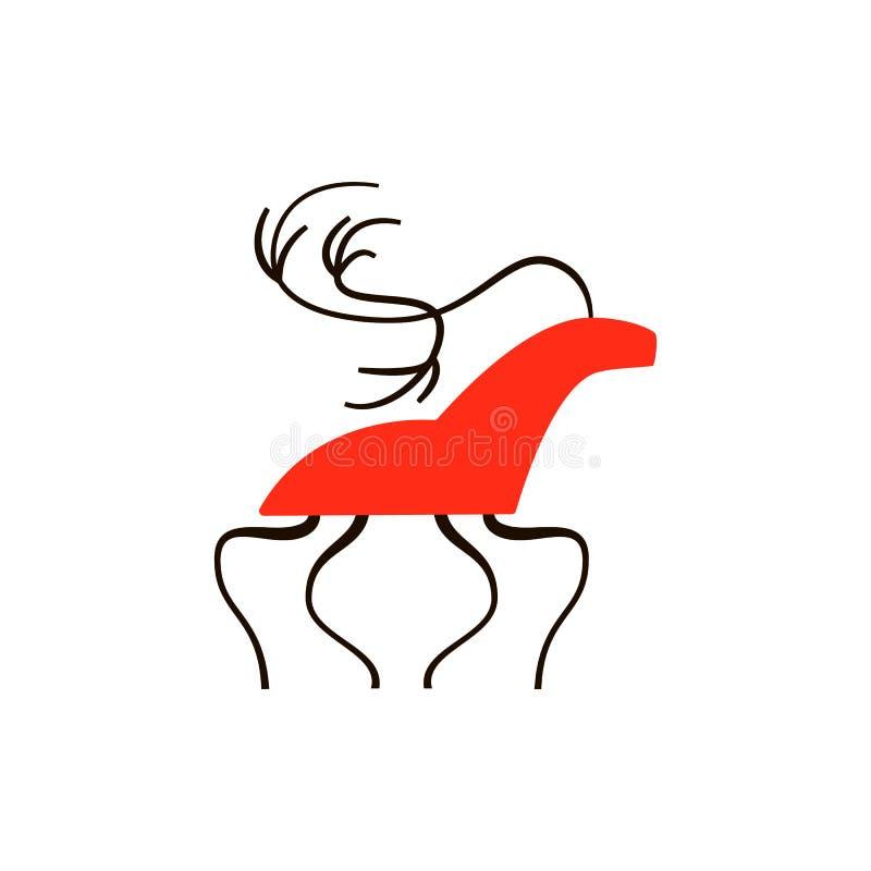 Czerwony koń Krajowi północni obrazy Ludowi rękodzieła Czarowni oryginałów ornamenty prostota ilustracja wektor