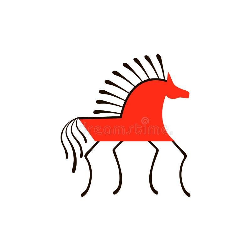 Czerwony koń Krajowi północni obrazy Ludowi rękodzieła Czarowni oryginałów ornamenty prostota ilustracji