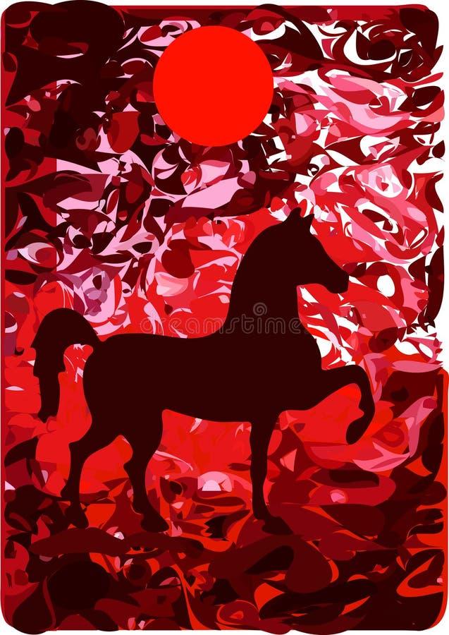 czerwony końska ilustracja wektor