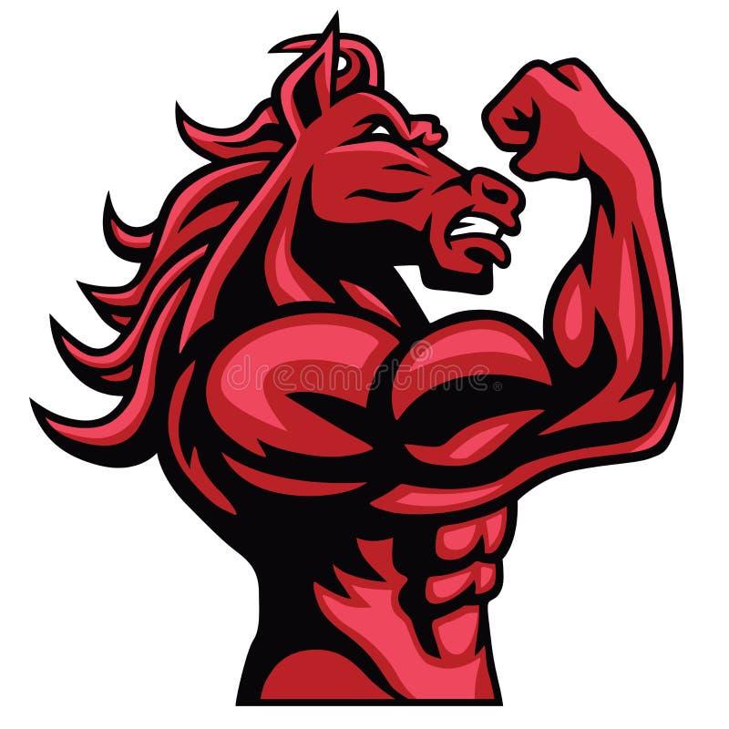 Czerwony Koński Bodybuilder Pozuje Jego Mięśniowego ciała wektoru maskotki ilustracji