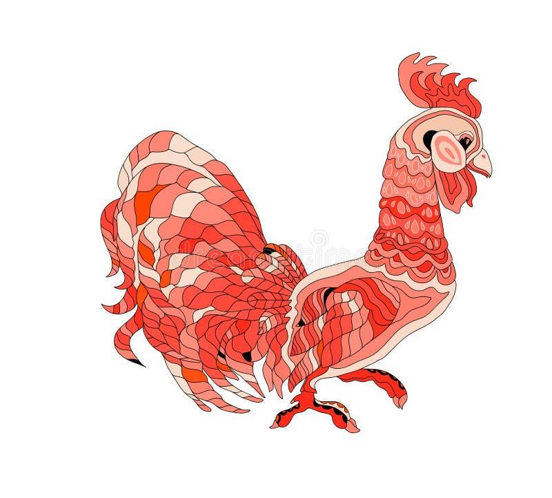 Czerwony kogut odizolowywający ilustracji