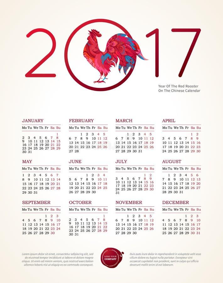 Czerwony koguta symbol 2017, wektoru kalendarz ilustracji