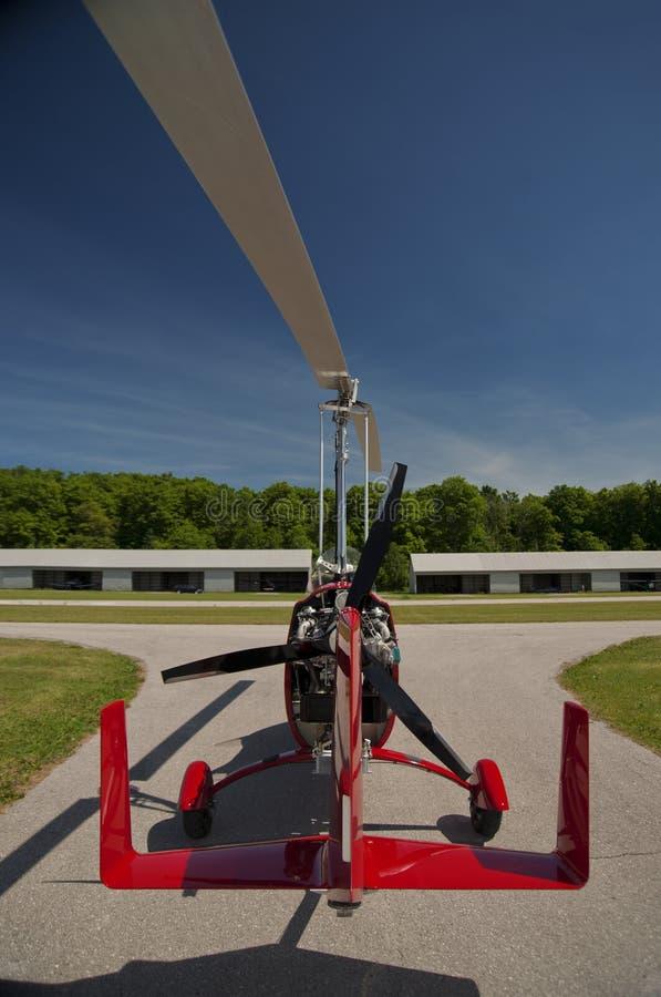 Czerwony kokpitu autogyro fotografia royalty free
