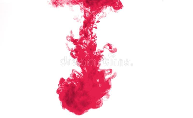 Czerwony kolor rozpuszcza w wodzie obrazy stock