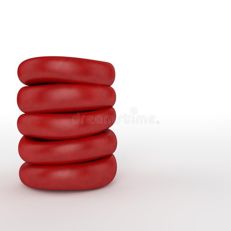 Czerwony komórka krwi stos ilustracja wektor