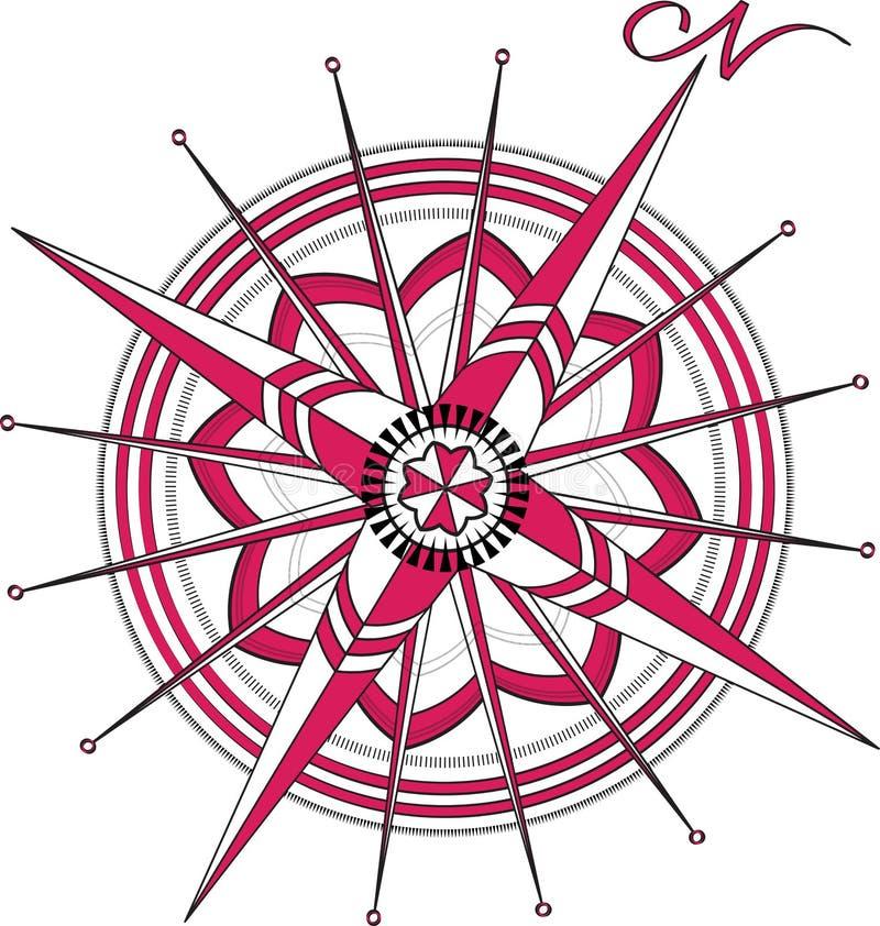 Czerwony kompas Wzrastał ilustracja wektor