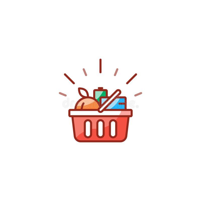 Czerwony kosz z sklepów spożywczych produktami, promoci transakcja, robi zakupy jedzenie linii ikonę royalty ilustracja