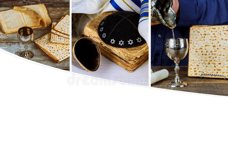 Czerwony koszerny wino z białym talerzem matzah, matza lub Passover obraz royalty free