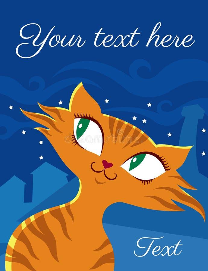 Czerwony kot w lampasach na tle noc dachy royalty ilustracja