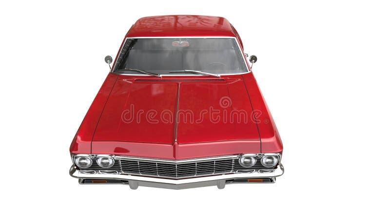 Czerwony kruszcowy mięśnia samochód zbliżenie - odgórny widok - obrazy royalty free