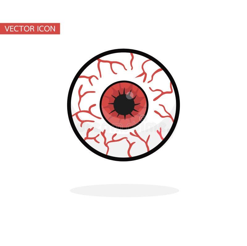 Czerwony krwionośny gałka oczna wektor ilustracji