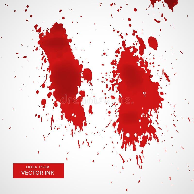 Czerwony krwionośny splatter na białym tle royalty ilustracja