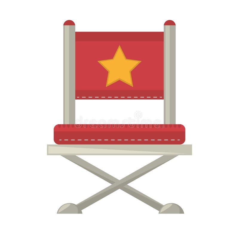 Czerwony krzesło gwiazdy dyrektora film ilustracji