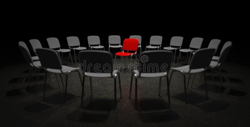 Czerwony krzesło w centrum uwaga ilustracji