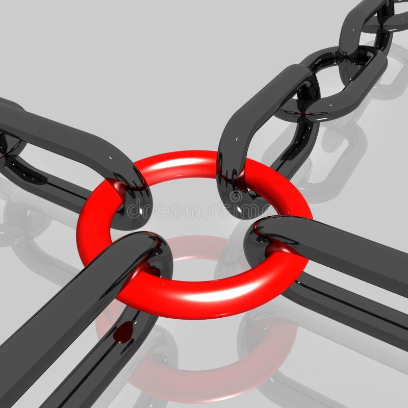 Czerwony Kulisowy łańcuch Pokazuje pracę zespołową, Łączącą ilustracja wektor