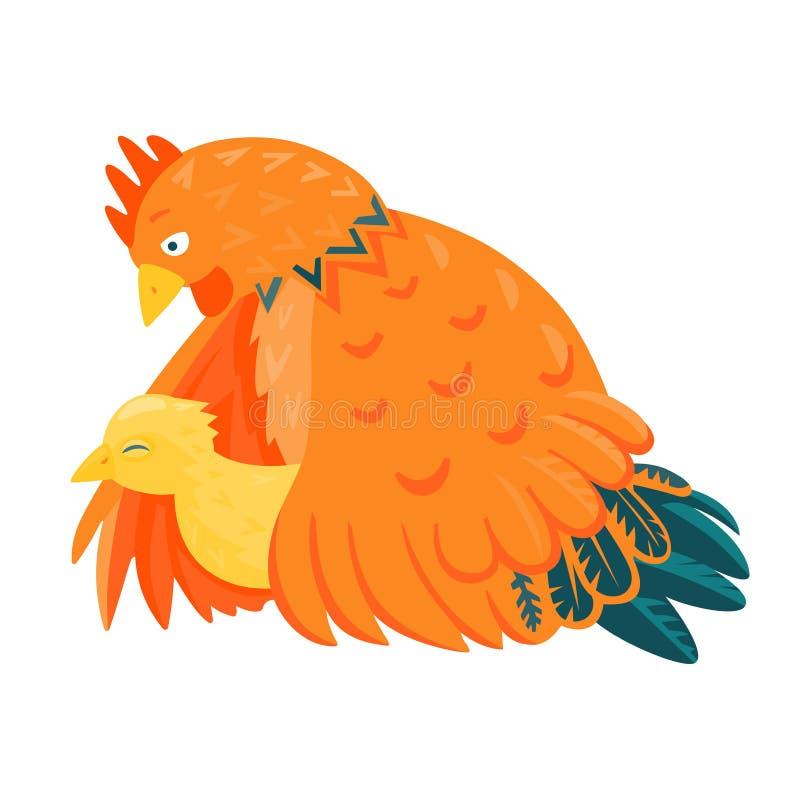 Czerwony kurczak z żółtym kurczątkiem royalty ilustracja