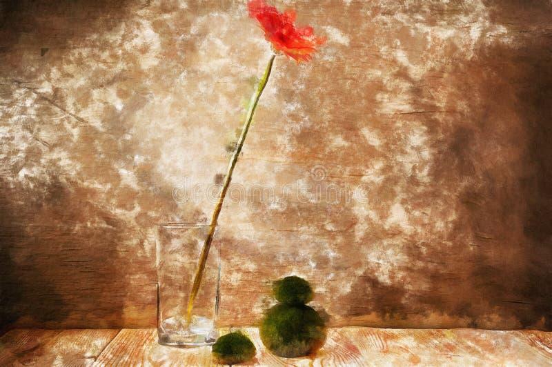 Czerwony kwiat akwareli wciąż życie royalty ilustracja