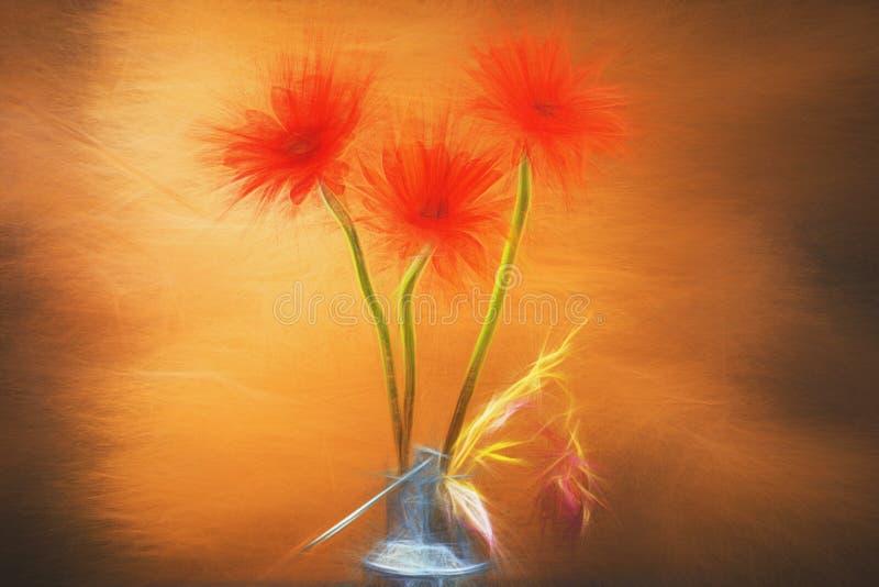 Czerwony kwiat akwareli wciąż życie ilustracji