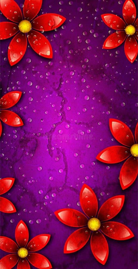 Czerwony kwiat w Fiołkowym Jaskrawym tle ilustracji