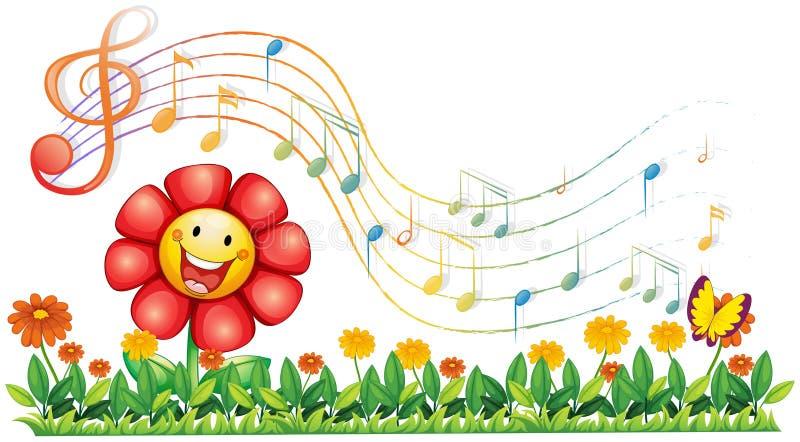 Czerwony kwiat w ogródzie z muzykalnymi notatkami ilustracja wektor