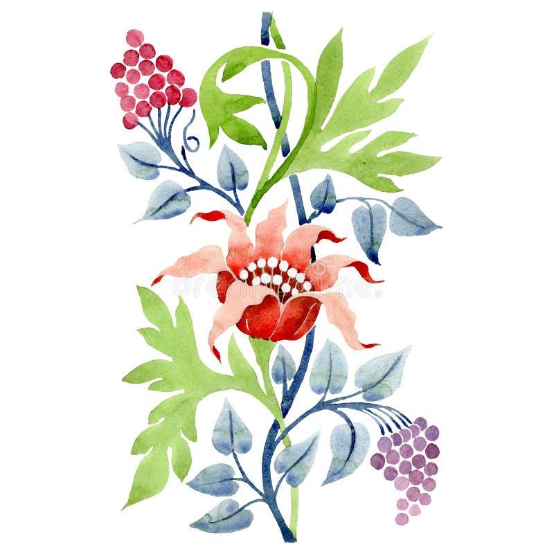 Czerwony kwiecisty botaniczny kwiat Akwareli tła ilustracji set Odosobniony ornament ilustracji element royalty ilustracja