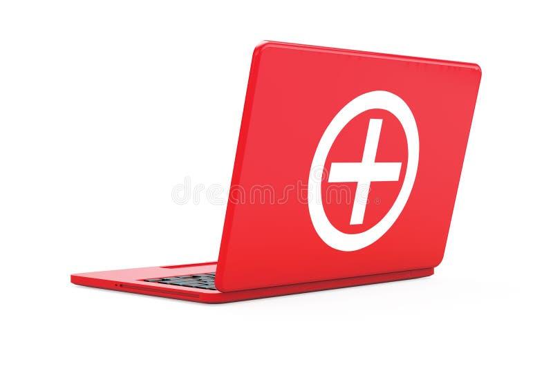 Czerwony laptop z pierwsza pomoc zestawu znakiem świadczenia 3 d ilustracji