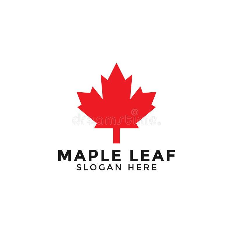 Czerwony liścia klonowego loga ikony projekta szablonu wektor royalty ilustracja