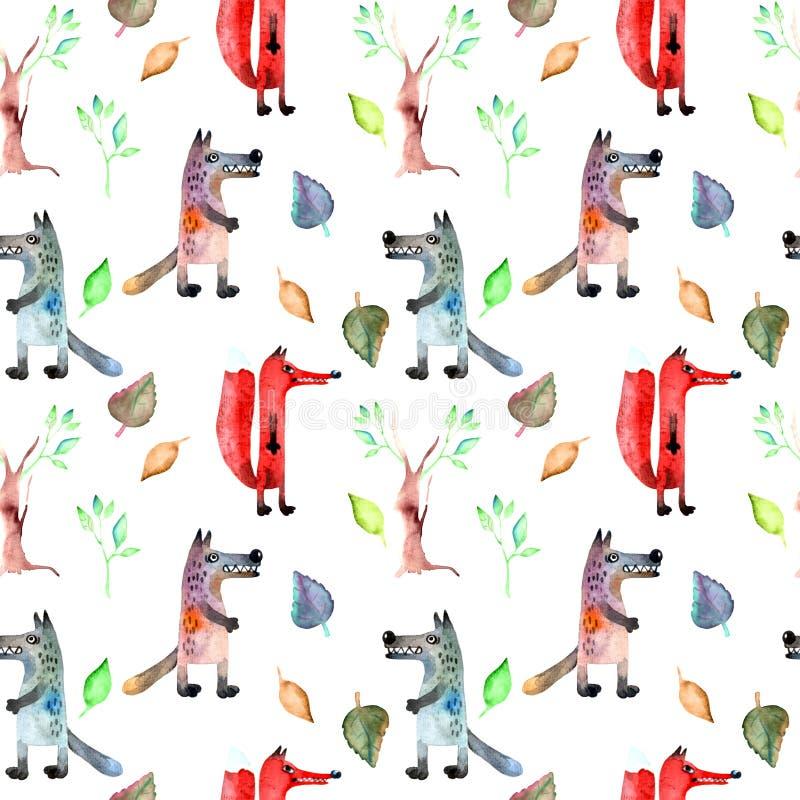 Czerwony lis i szary wilk ilustracji