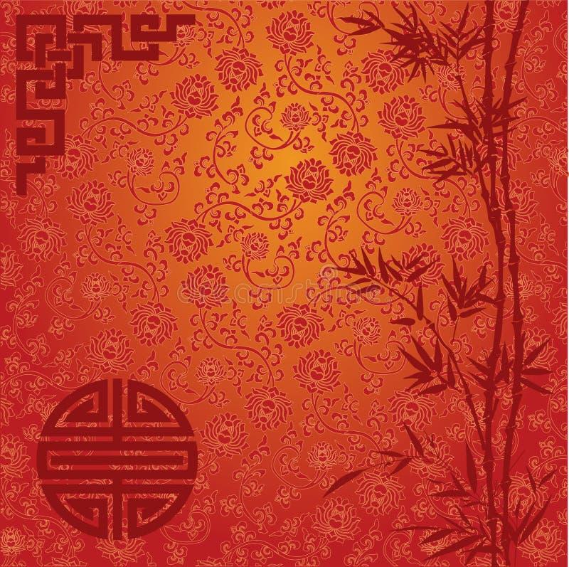Czerwony lotosu i bambusa chińczyka tło ilustracji