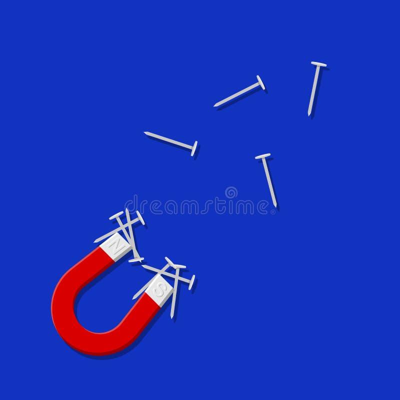 czerwony magnes i gw??d? Prosta wektorowa nowożytna ikona projekta ilustracja ilustracji