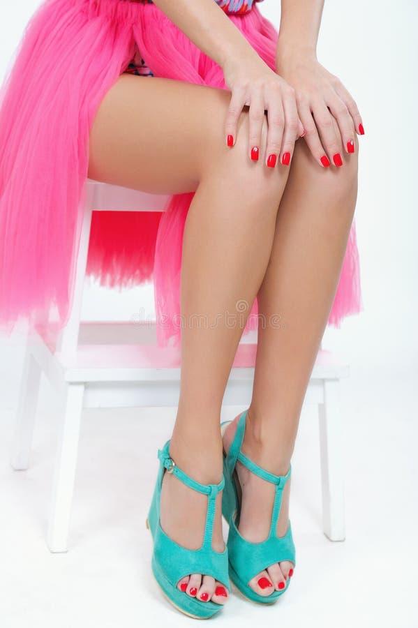 Czerwony manicure i pedicure zdjęcia royalty free