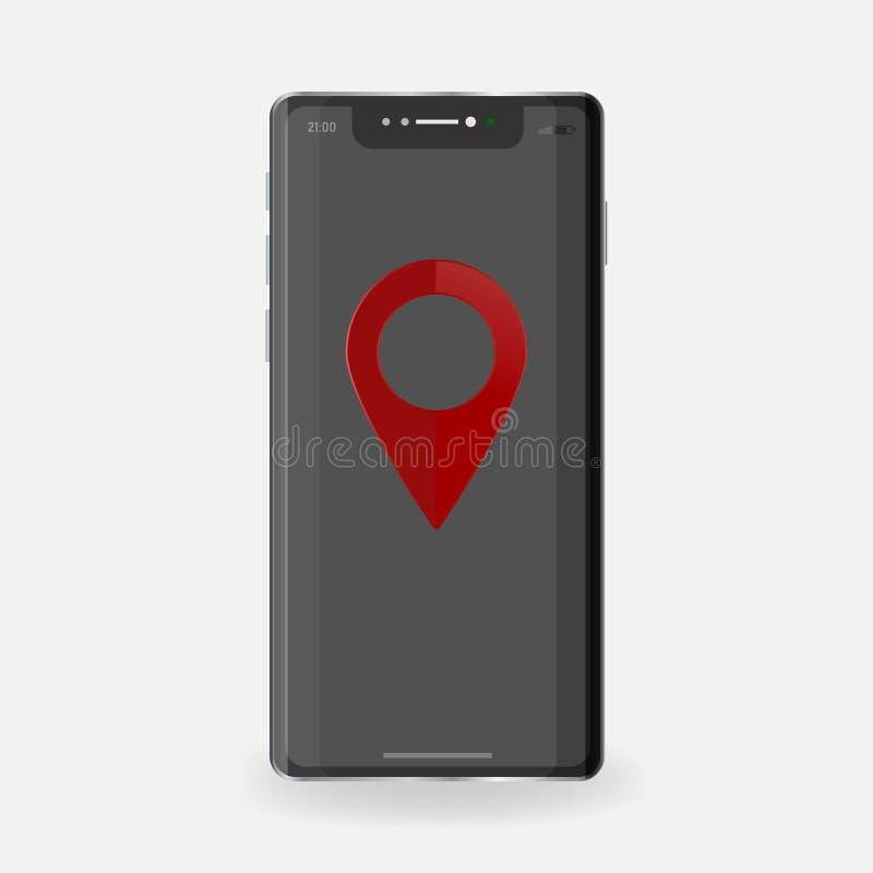 Czerwony mapa pointer na telefonu wektoru ikonie Symboli/lów gps nawigator lay ilustracji