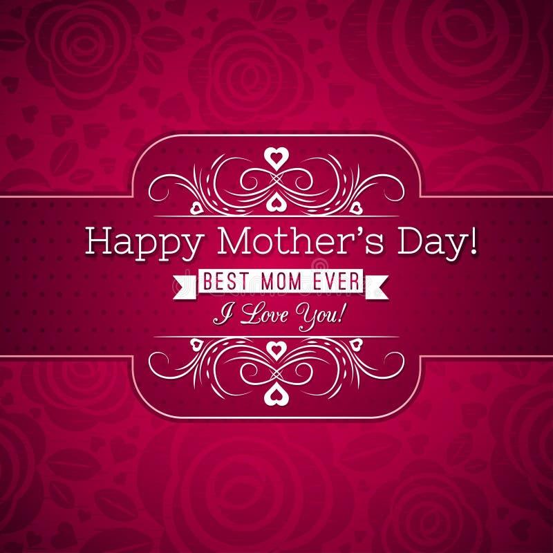 Czerwony matka dnia kartka z pozdrowieniami z róż i życzeń tekstem ilustracja wektor