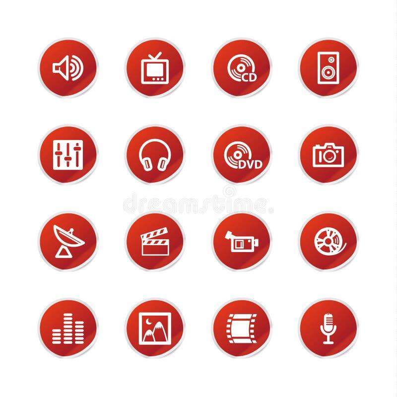 czerwony mediów ikoną naklejki wizowej ilustracja wektor