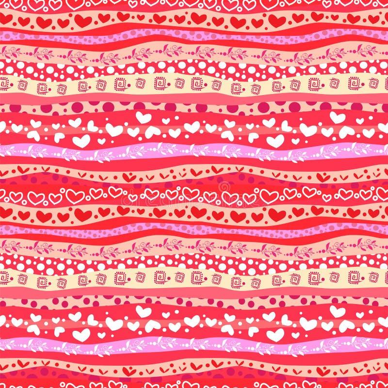 Czerwony miłości Valentin's dzień Macha Bezszwowego tło ilustracji
