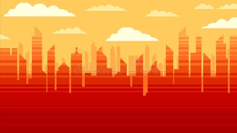 Czerwony miasto drapaczy chmur tło, piksel sztuki ilustracja royalty ilustracja