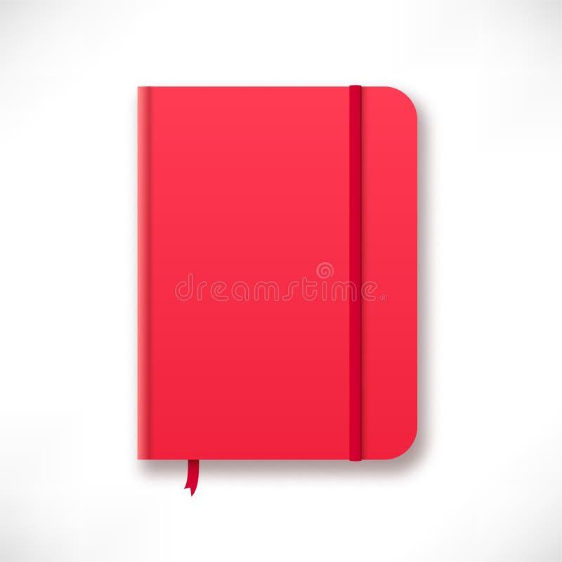 Czerwony moleskinu notatnik ilustracja wektor